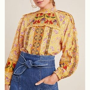 Brand New Anthropologie Goldie Embroidered Blouse